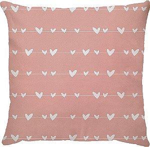 Capa Almofada Varal Coração Rosa
