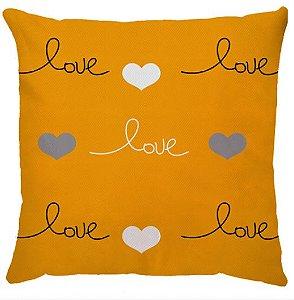 Capa Almofada Love Corações Amarelo