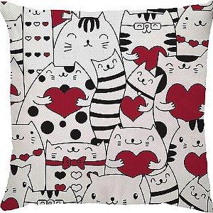 Capa Almofada Gato Coração Vermelho