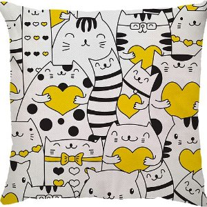 Capa Almofada Gato Coração Amarelo