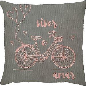 Capa Almofada Bicicleta Viver e Amar Rosa Cinza