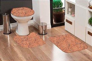 Jogo Banheiro Tapete Microfibra - Caramelo
