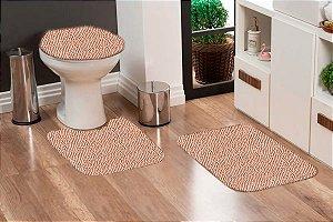 Jogo Banheiro Tapete Microfibra - Bege