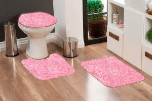 Jogo Banheiro Tapete Microfibra - Rosa