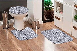 Jogo Banheiro Tapete Microfibra - Cinza Claro