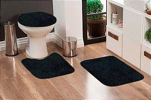 Jogo Banheiro Tapete Microfibra - Preto