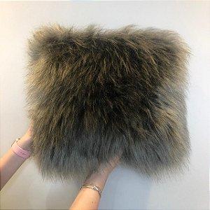 Capa Almofada Polar Pele Sintética - Cinza