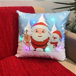 Capa Almofada Suede com Led Papai Noel Neve Natal