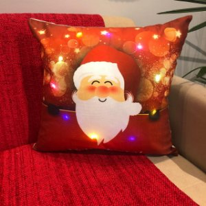 Capa Almofada Suede com Led Papai Noel Feliz Natal