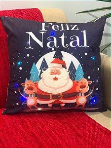 Capa Almofada Suede com Led Azul Marinho Papai Noel e Renas Natal