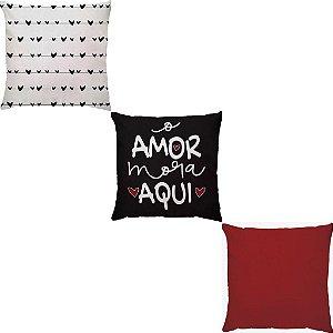 Kit 3 Capas Almofadas Amor