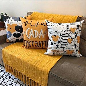 Kit 3 Capas Almofadas Gato Amarelo 1 Manta Rustica Amarela