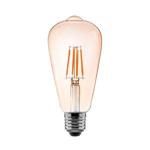 Lâmpada De Led Filamento ST64 Bulbo 4w 2400k Ambar