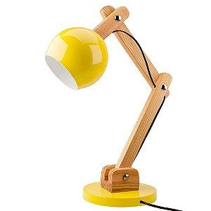 Luminária de Mesa em Madeira e Metal Amarelo