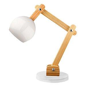 Luminária de Mesa em Madeira e Metal Branco