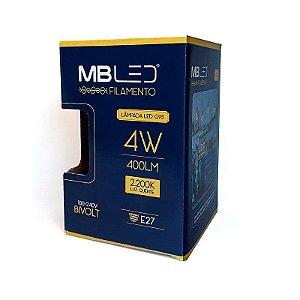 Lampada De Led Filamento G95 4w 2200k