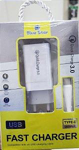 CARREGADOR USB TIPO-C  BLUE STAR