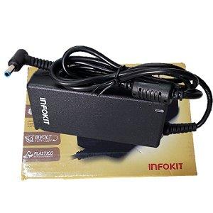Fonte Carregador Universal para Notebook Hp 65w 19.5v 3.33a 4.5x3.0mm Curva Com Agulha Boca Azul H-f112