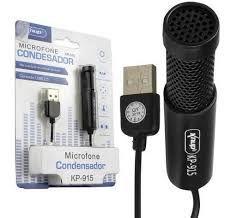 Microfone Condensador USB Knup KP-915- Cabo 1.5m