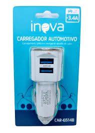 FONTE CARREGADOR AUTOMOTIVO 3.4A 2USB INOVA CAR-G5148