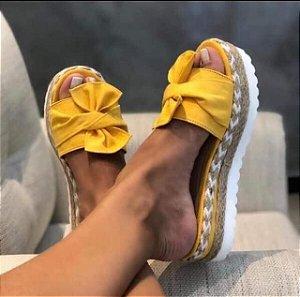 Tamanco Sandália Tratorada Laço Amarela