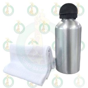 Kit Squeeze Alumínio 500ml Bico Bolinha Prata + Toalha Lavabo Branca 100% Sublimável