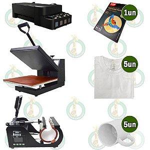 Sublikit Microempreendedor Prensa Plana Stc 38x38cm + Prensa de Caneca Stc + Impressora L120 Sublimatica + Insumos
