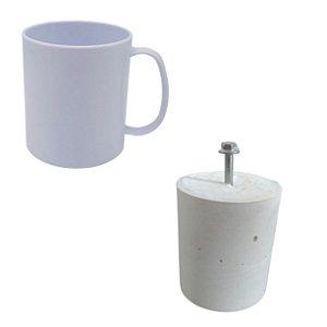 Kit 12 Canecas de Polímero Branca + 1 Molde de Gesso