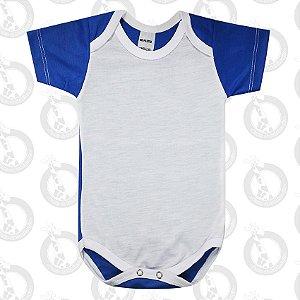 Body Bebê Poliéster Branco c/ Costas e Mangas Azul Escuro
