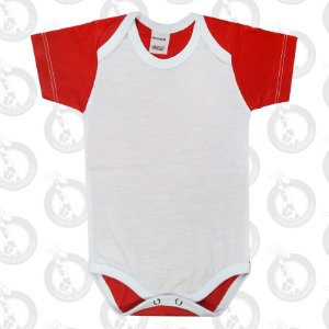 Body Bebê Poliéster Branco c/ Costas e Mangas Vermelha