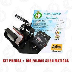 KIT PRENSA DE CANECA + 100 FLS DE PAPEL SUBLIMATICO