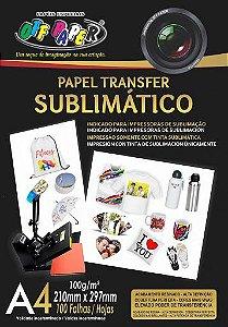PAPEL SUBLIMATICO OFF PAPER A4 100G PCT C/100 FLS (FUNDO ROSA)