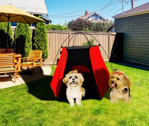 Tenda Pet Camping para Cães e Gatos Vermelha e Preta - Tubline