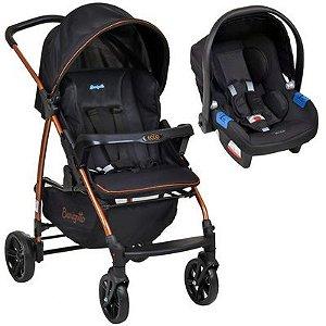 Carrinho de Bebê Infantil Ecco Com Bebe Conforto Touring Preto Cobre  Travel System  - Burigotto