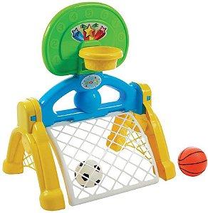 Centro Esportivo Infantil 2 em 1 Basquete e Futebol Brinquedo Bebe Criança  - Maral