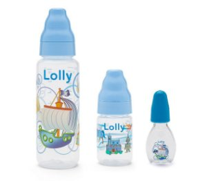 Kit 3 Mamadeiras Menino 240ml + 80ml + 50ml Azul - Lolly