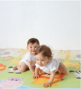 Tapete infantil de atividades Bebê Gigante Safari Dupla face Colorido Super Macio Impermeável - Buba
