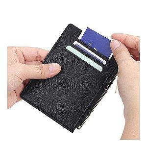 Carteira Ultrafina Zíper Moeda Cartão Documento Dinheiro