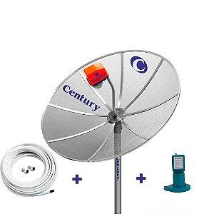 Antena Parabolica Century 1,5m, LNBF Monoponto Superdigital, Cabo, Conectores