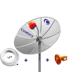 Antena Parabolica Century 1,5m, LNBF Multiponto Superdigital, Cabo, Conectores