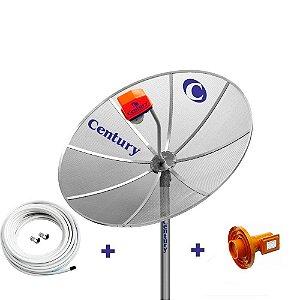 Antena Parabolica Century 1,7m, LNBF Monoponto Superdigital, Cabo, Conectores