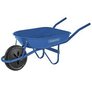 Carrinho de Mão Tramontina com Caçamba Rasa Metálica Azul 50 L, Braço Metálico e Pneu Maciço
