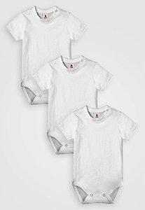 Kit 3 pçs, Body Curto Liso, Zupt Baby, Branco