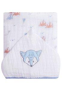 Toalha de Banho Papi Soft Forrada Raposa Branco