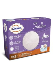 Caixa 3pçs Toalha Fralda Cremer Luxo Branco