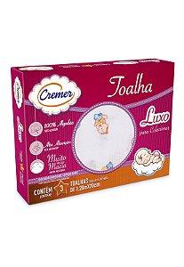 Caixa 3pçs Toalha Fralda Cremer Luxo Menina