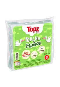 Pacote 3pçs Toalha Fralda Topz Cremer Menino