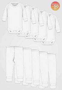 Kit 10pçs Body Culote Zupt Baby Alg Egípcio FPS 50 Branco