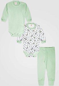 Kit 3pçs Body Zupt Baby Longo Bebê Menino Verde