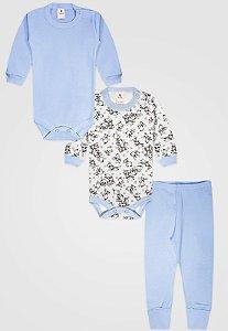 Kit 3pçs Body Zupt Baby Longo Cachorro Azul